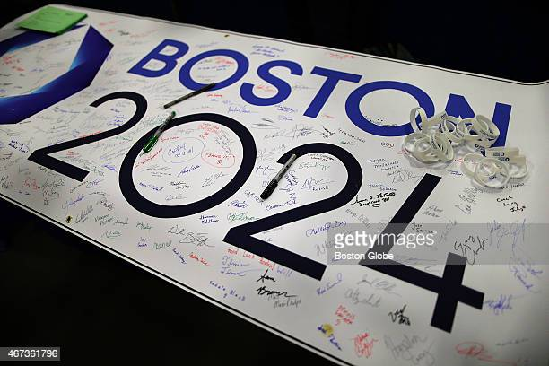 A grassroots team was promoting the city's bid for the 2024 Olympics in Boston at the Reggie Lewis Track And Athletic Center where the third Annual...