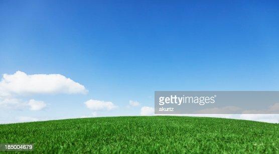 Grassy hill beautiful blue sky horizon