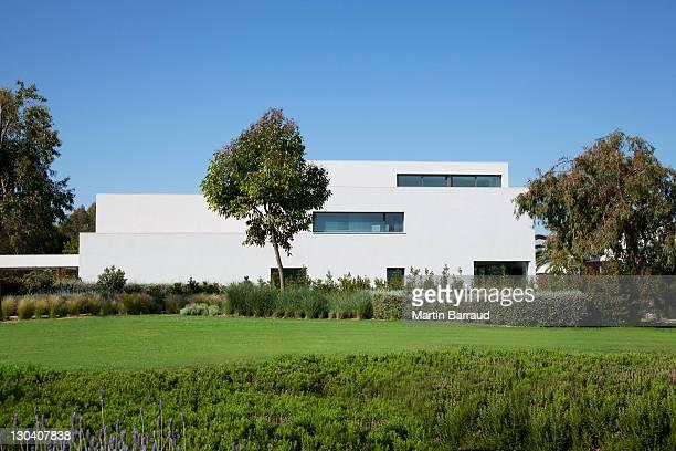 Grassy lawn near modern building