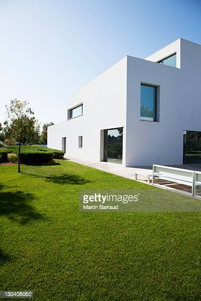 Grassy lawn of modern house