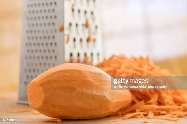 Grated sweet potato.