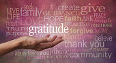 Female hand outstretched with palm up and the word 'Gratitude' surrounded by a relevant word cloud hovering against a rustic stone effect background