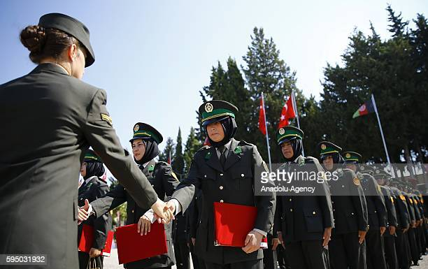 Gratuated female soldiers received their graduation certificates from the Turkish female soldiers after 109 Afghan National Army forces' female...