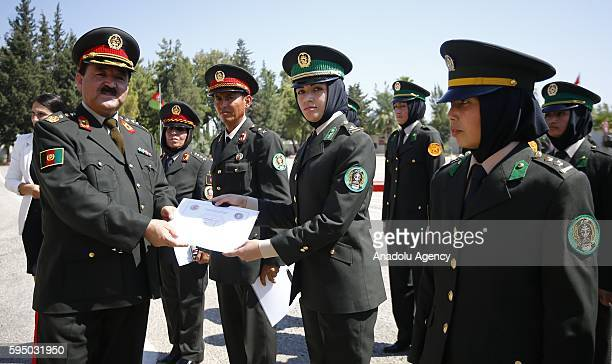 Graudated female soldiers received their graduation certificates from the Afghanistan General Staff the chief of plans and principles Naderi Eqbal...