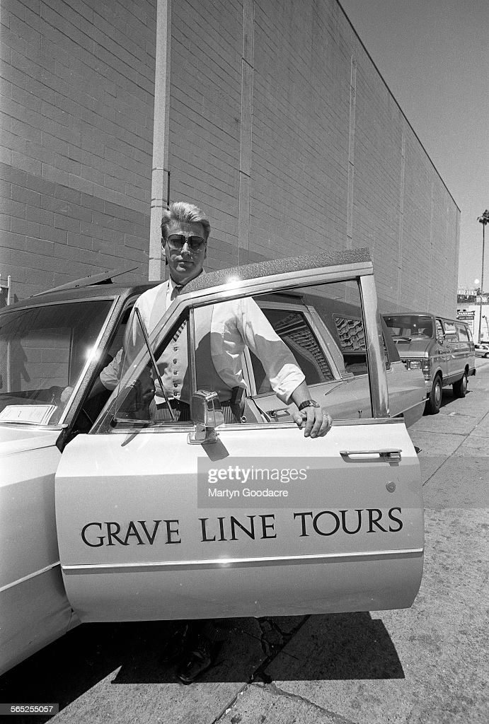 Grave Line Tours of Los Angeles, United States, 1990. The tour takes customers to see the homes of dead celebrities.