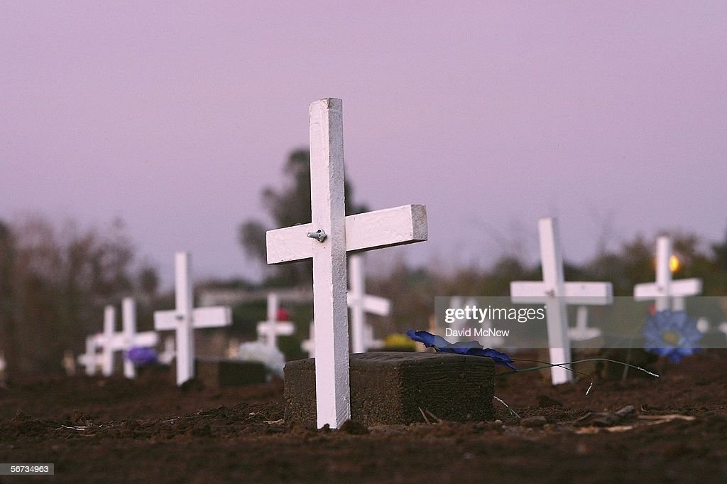 Grave marker crosses are seen in the night after activists on the 'March for Migrants' placed them on the graves of approximately 400 people in a...