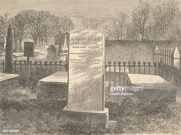 Grave of former United States VicePresident Aaron Bur in Princeton NJ from a Harper's Weekly illustration dated 1869