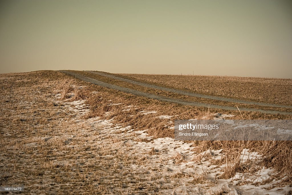 Gravel road in the winter
