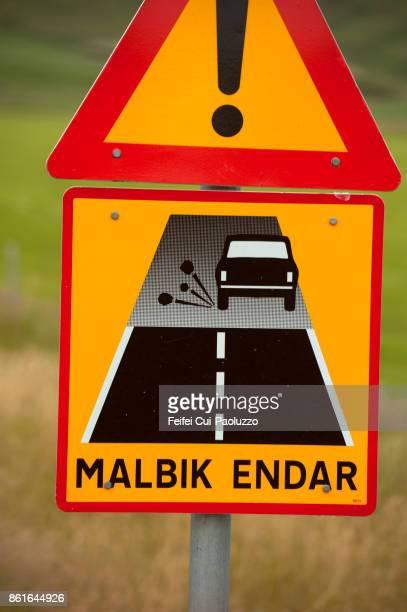 Gravel road sign at Skaftartunga, south Iceland