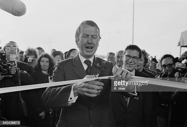 Gravelly Hill Interchange also known as 'Spaghetti Junction' is opened by Secretary of State for the Environment Peter Walker Birmingham 24th May 1972