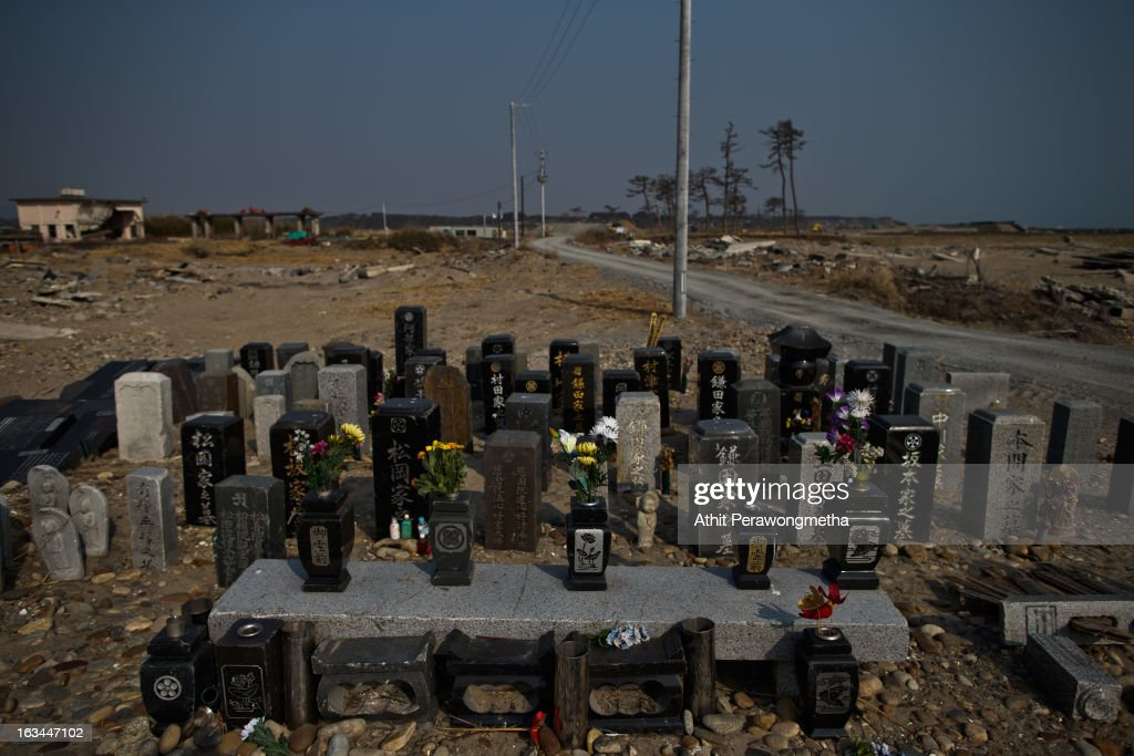 Graves are lined up in a cemetery about 20 km away from Fukushima Nuclear Power Plant, prior to the second anniversary commemoration of the tsunami and earthquake on March 10, 2013 in Odaka where is exclusion zone , Fukushima Prefecture, Japan. Japan on March 11 will commemorate the second anniversary of the magnitude 9.0 earthquake and following tsunami, that claimed more than 18,000 lives.