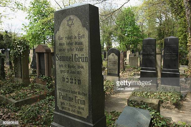 Graves of Berlin Jews who died before the Holocaust stand at the Jewish cemetery at Weissensee on April 30 2008 in Berlin Germany The Weissensee...