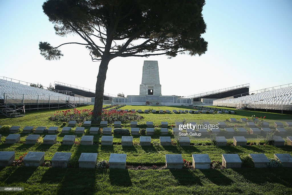 Graves of some of the 8700 Australian soldiers who died during the Gallipoli Campaign lie at the cememtery at the Lone Pine Memorial as...