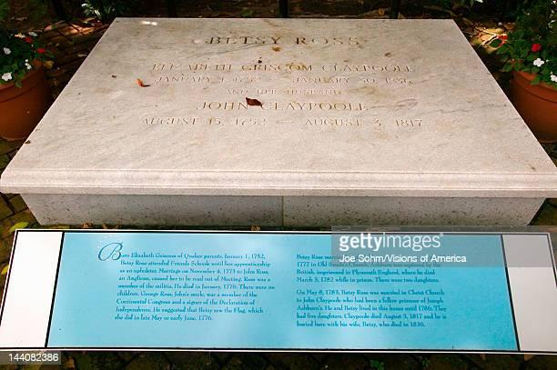 Gravestone for Betsy Ross in The Betsy Ross House on East Third Street Philadelphia Pennsylvania