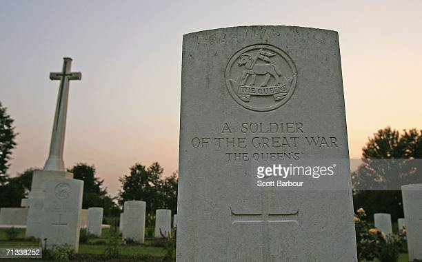 Gravestones mark the graves of unknown soldiers killed in the Battle of Somme at the Thiepval Memorial and AngloFrench cemetery as the 90th...