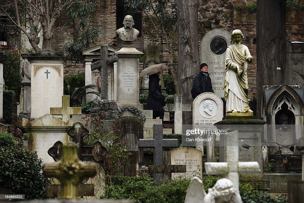 Gravestones stand in Rome's 'Non Catholic Cemetery' on March 26, 2013 in Rome, Italy. Rome's Non-Catholic Cemetery contains one of the highest densities of famous and important graves anywhere in the world including John Keats, one of England's most famous poets, who died early in 1820 of tuberculosis aged 25, after travelling to Italy in search of a better climate to help cure him of the disease. As well as being the final resting-place of the poets Percy Shelley and John Keats, it is also home to graves of many other painters, sculptors and authors who died in Rome. The cemetery which began it's use in 1730 continues today, containing graves of Orthodox Christians, Jews, Muslims and other non-Christians, and is one of the oldest burial grounds in Europe.