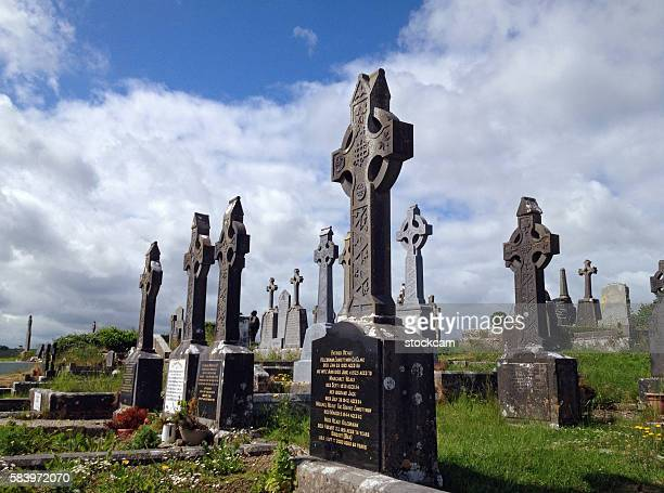 Graveyard with crucifixes in Ireland