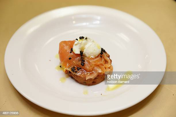 Gravlax on a Chickpea Pancake with Caviar and Mustard Oil prepared by Chef Tom Valenti of Ouest Restaurant for his Classic Ouest Menu class is seen...