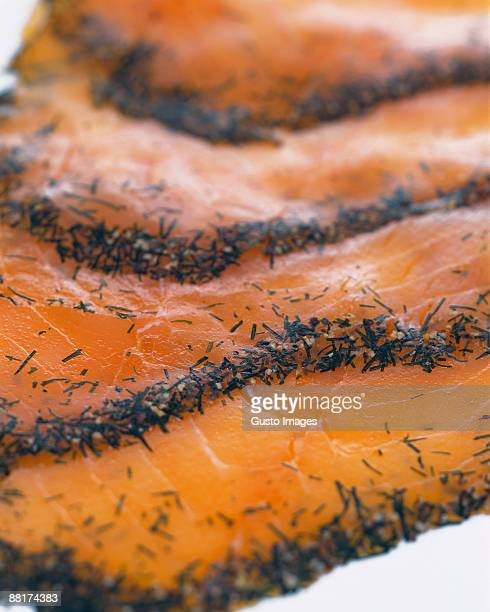 Gravlax slices close-up