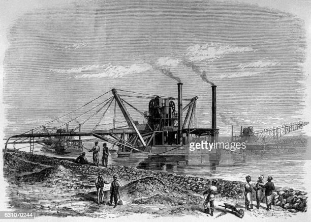 Gravure représentant les travaux de terrassement du Canal de Suez en Egypte dans les années 1860 / AFP /