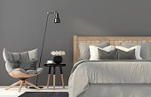 3D illustration. The interior of gray bedroom with a wooden chair and a bed