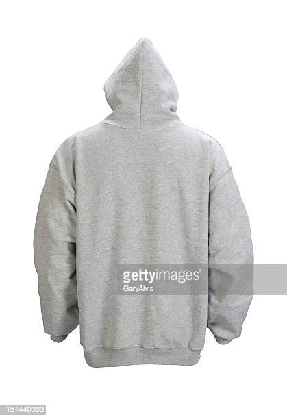 Gray, blank hooded sweatshirt back-isolated on white w/clipping path