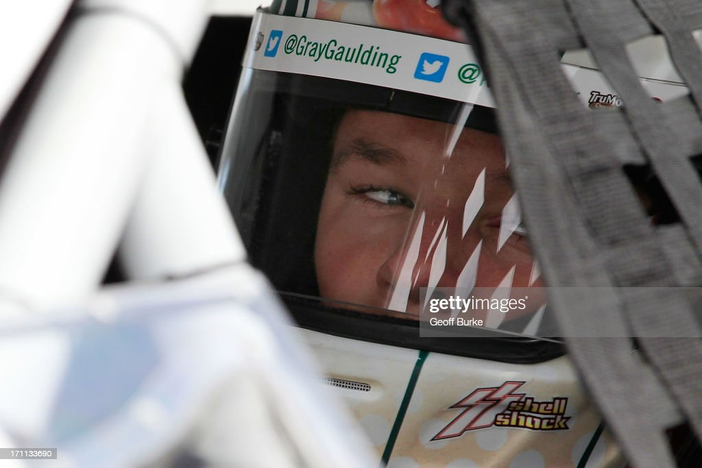 Gray Gaulding, driver of the #20 Krispy Kreme Doughnuts Toyota, sits in his car during practice for the NASCAR K&N Pro Series East Visit Hampton VA 175 at Langley Speedway on June 22, 2013 in Langley, Virginia.