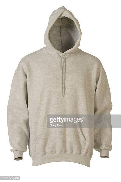 Gray hooded, blank sweatshirt front-isolated on white