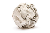 Crumpled paper isolated on a white background.