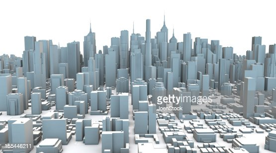 Gray Plastic 3D City Skyscrapers : Stock Photo