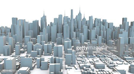 Graues Plastik 3D Stadt Wolkenkratzer : Stock-Foto