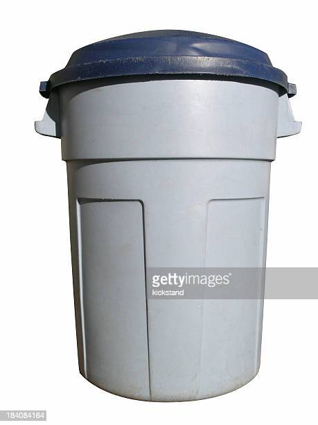 Gray plastic trash bin isolated on a white background