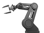 Black robot arm isolated on a white background.Have this robot arm grip your new product.Could be useful element in a futuristic composition.This is a detailed 3d rendering.