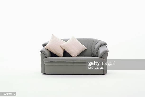 Gray sofa and cushions