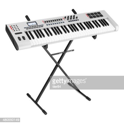 gray synthesizer on stand isolated on white background : Stock Photo
