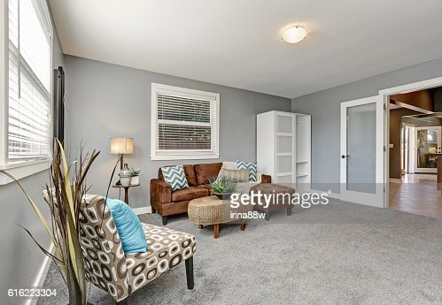 Gray tones sitting area with comfortable brown sofa : Stock Photo
