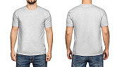 Gray t-shirt on a young man isolated white background, front and back