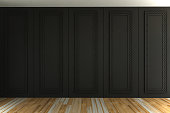 Interior of empty classic room gray panels wall- 3d rendering