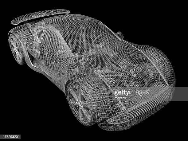 Gray wireframe of car on black background