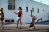 Graycie Sexton Mya Tournear and Alexandria Tournear play together in the FEMA trailer park that they live in with their parents after there homes...