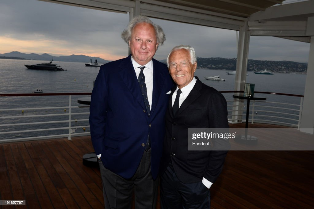 Graydon Carter and Giorgio Armani attend the Vanity Fair And Armani Party at the 67th Annual Cannes Film Festival on May 17 2014 in Cap d'Antibes...