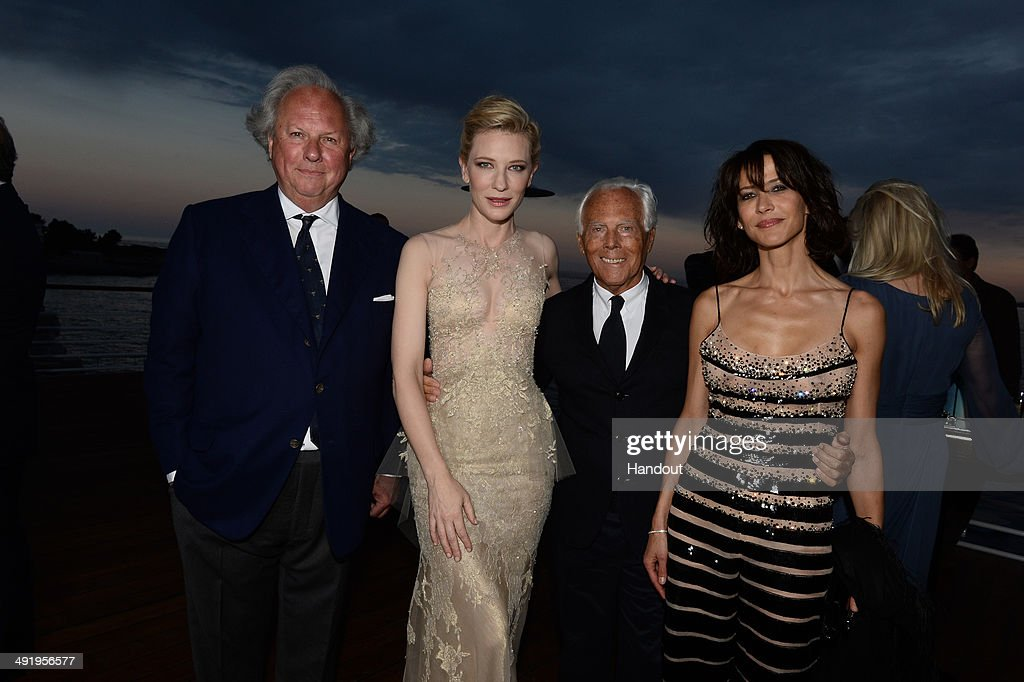 <a gi-track='captionPersonalityLinkClicked' href=/galleries/search?phrase=Graydon+Carter&family=editorial&specificpeople=605905 ng-click='$event.stopPropagation()'>Graydon Carter</a>, <a gi-track='captionPersonalityLinkClicked' href=/galleries/search?phrase=Cate+Blanchett&family=editorial&specificpeople=201621 ng-click='$event.stopPropagation()'>Cate Blanchett</a>, Giorgio Armani and <a gi-track='captionPersonalityLinkClicked' href=/galleries/search?phrase=Sophie+Marceau&family=editorial&specificpeople=220531 ng-click='$event.stopPropagation()'>Sophie Marceau</a> attend the Vanity Fair And Armani Party at the 67th Annual Cannes Film Festival on May 17, 2014 in Cap d'Antibes, France.