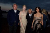 Graydon Carter Cate Blanchett Giorgio Armani and Sophie Marceau attend the Vanity Fair And Armani Party at the 67th Annual Cannes Film Festival on...