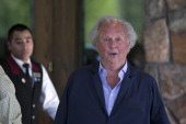 Graydon Carter editor of Vanity Fair arrives at the Sun Valley Lodge ahead of the Allen Co Media and Technology Conference in Sun Valley Idaho US on...