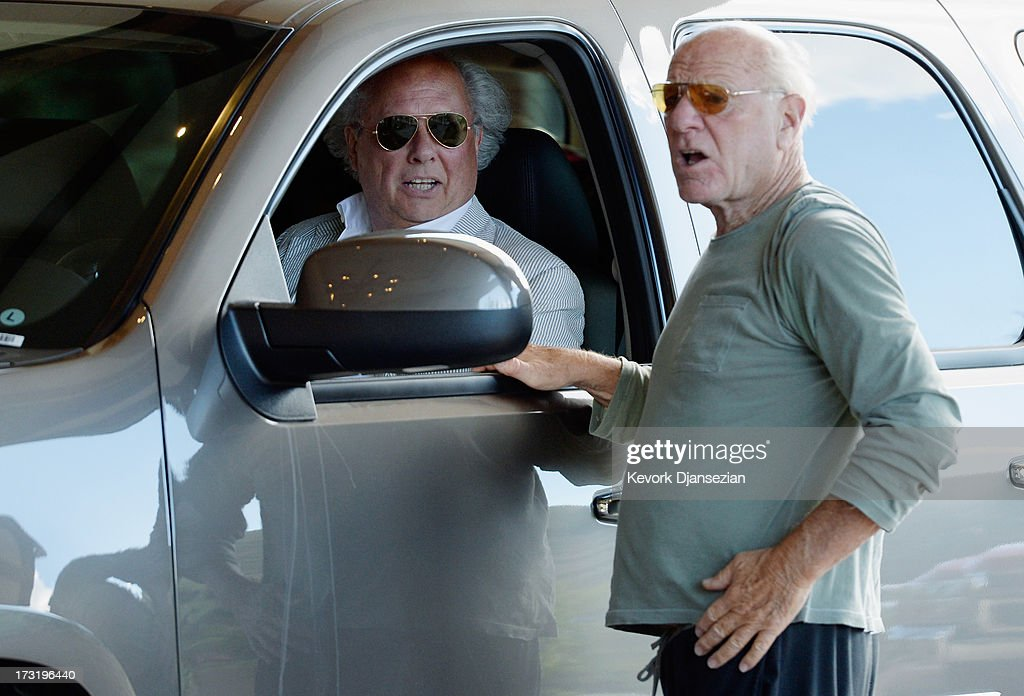 Graydon Carter, (L) Vanity Fair's editor and Barry Diller, chairman of IAC/InterActive Corp, arrive for the annual conference on July 9, 2013 in Sun Valley, Idaho. The resort will host corporate leaders for the 31th annual Allen & Co. media and technology conference where some of the wealthiest and most powerful executives in media, finance, politics and tech gather for weeklong meetings which begins Tuesday. Past attendees included Warren Buffett, Bill Gates and Mark Zuckerberg.