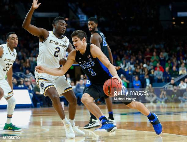Grayson Allen of the Duke Blue Devils dribbles the ball against Temple Gibbs of the Notre Dame Fighting Irish at Purcell Pavilion on January 30 2017...
