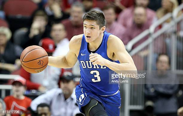 Grayson Allen of the Duke Blue Devils dribbles the ball during the game against the Louisville Cardinals at KFC YUM Center on February 20 2016 in...