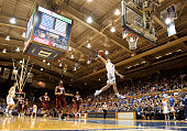 Grayson Allen of the Duke Blue Devils dunks the ball against the Virginia Tech Hokies during their game at Cameron Indoor Stadium on January 9 2016...