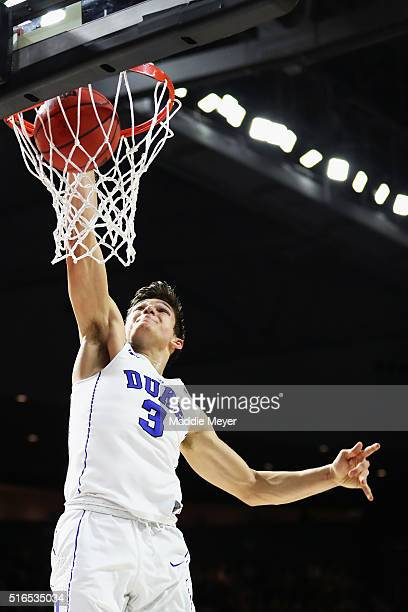 Grayson Allen of the Duke Blue Devils dunks the ball in the first half against the Yale Bulldogs during the second round of the 2016 NCAA Men's...