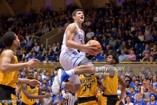 Grayson Allen of the Duke Blue Devils goes to the basket against the Bowie State Bulldogs at Cameron Indoor Stadium on November 4 2017 in Durham...
